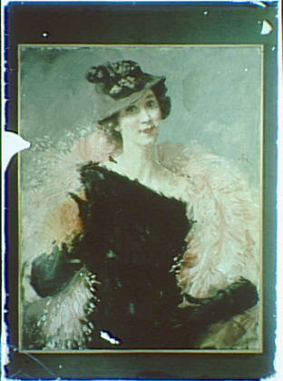 Photograph of a painting of a woman wearing a black dress and a hat and a light-colored wrap
