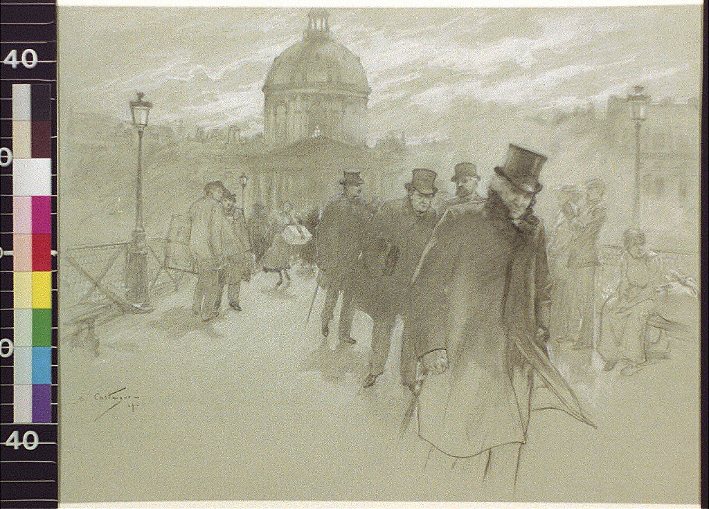 Members of the French Academy, the Académie francaise, after a session, crossing the Pont des Arts from the Institute