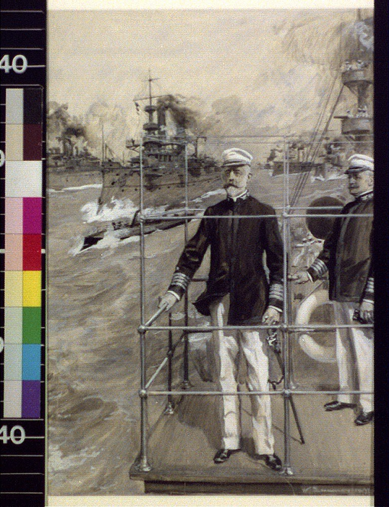 "Out for a fight : in search of the Spanish fleet, Rear Admiral Sampson on the bridge of the ""New York"""