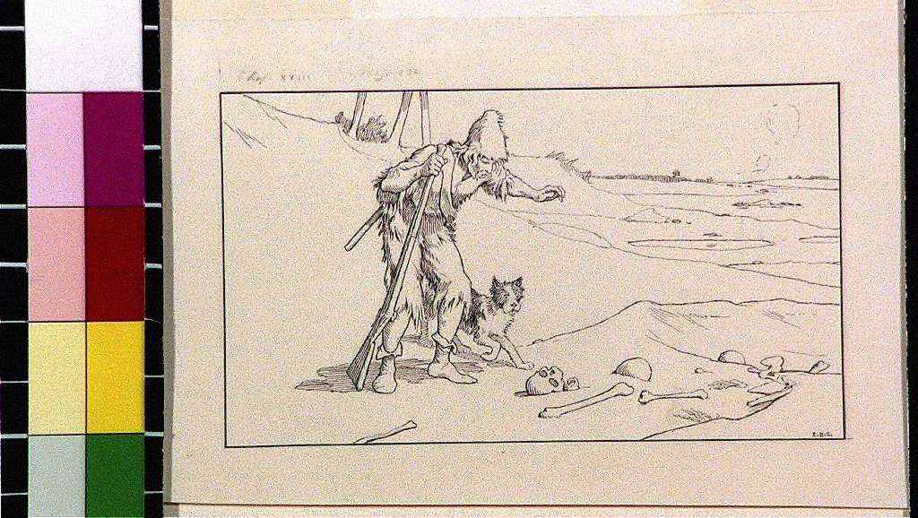 Robinson Crusoe and dog looking at skeleton in sand