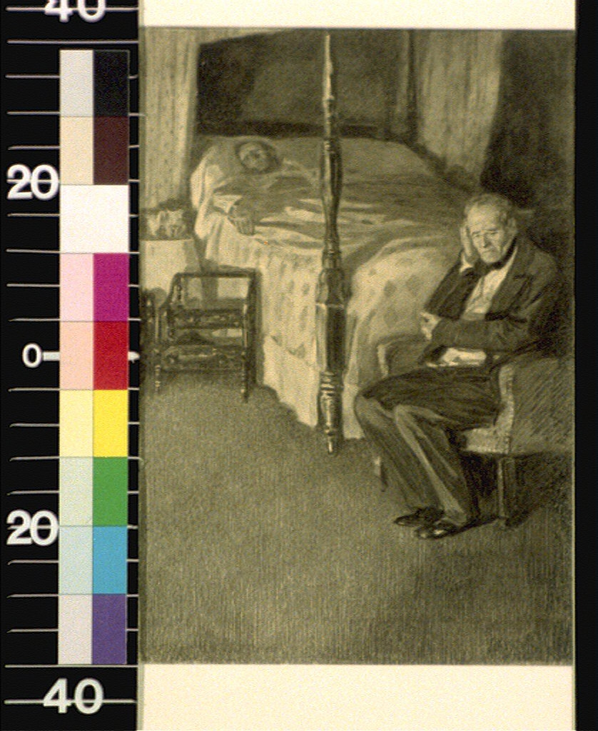 Man seated in chair, another person in bed