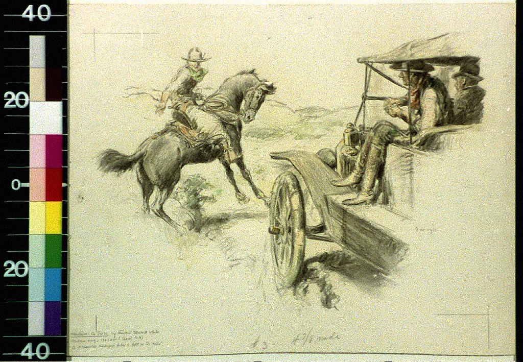 A horseman emerged from a fold in the hills