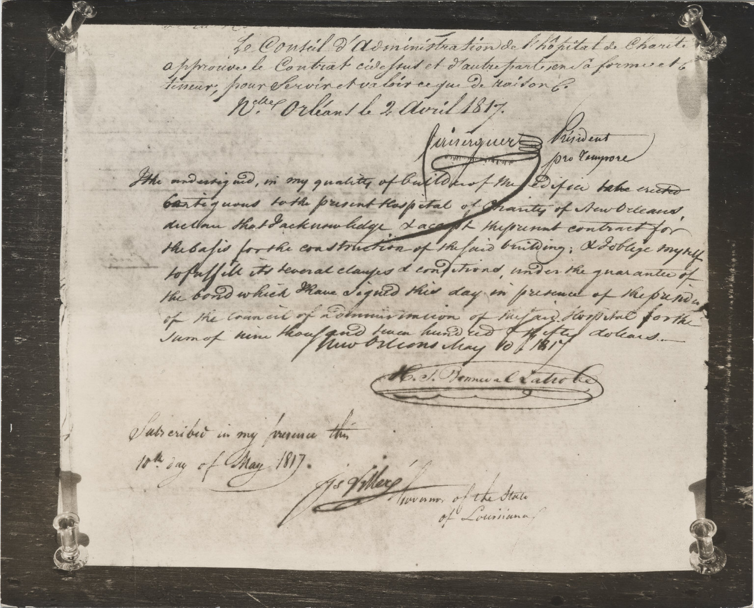 Document signed by Latrobe